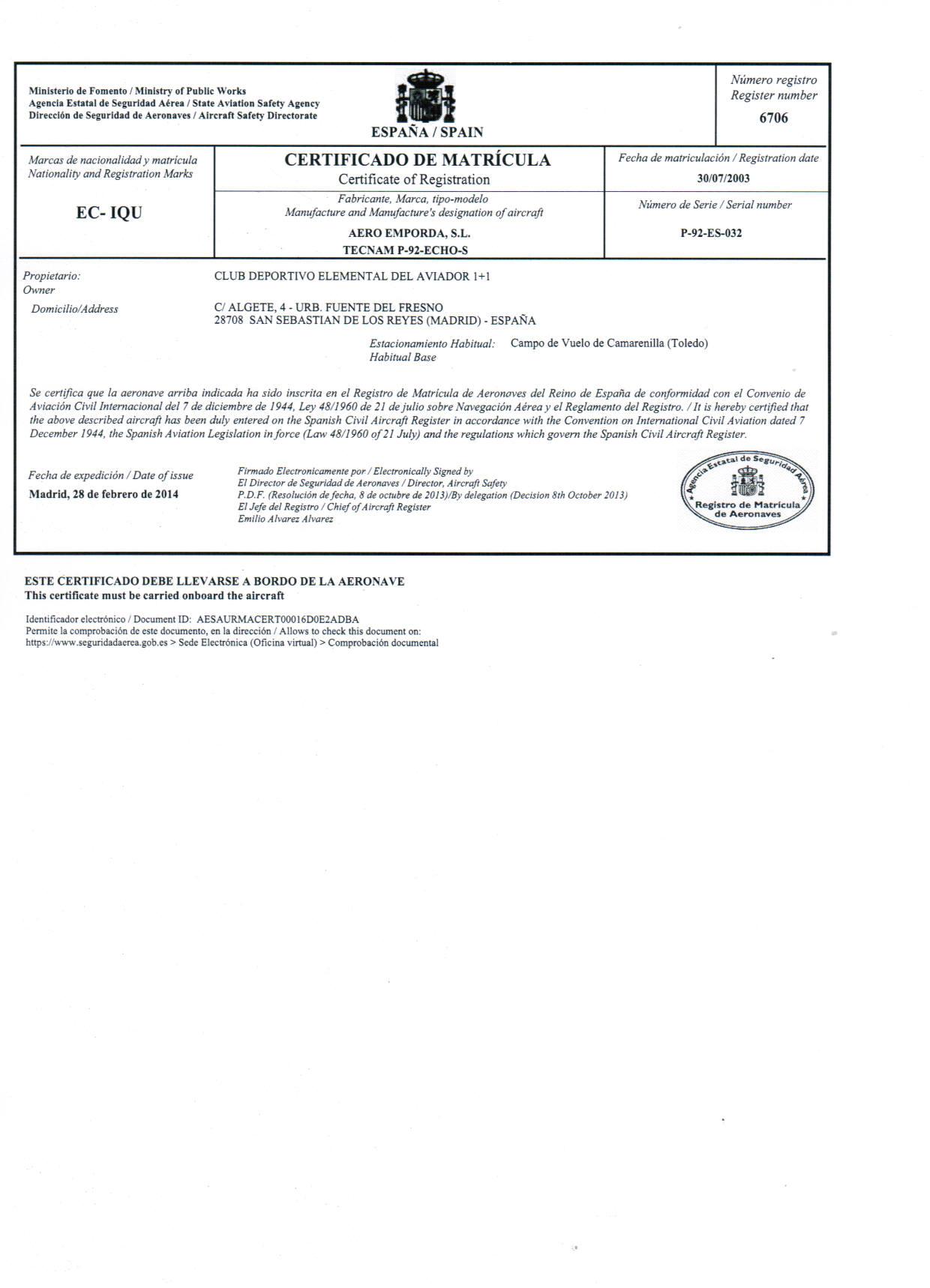 Registro Bienes Muebles Toledo : Volar en avioneta aeródromo de camarenilla casos