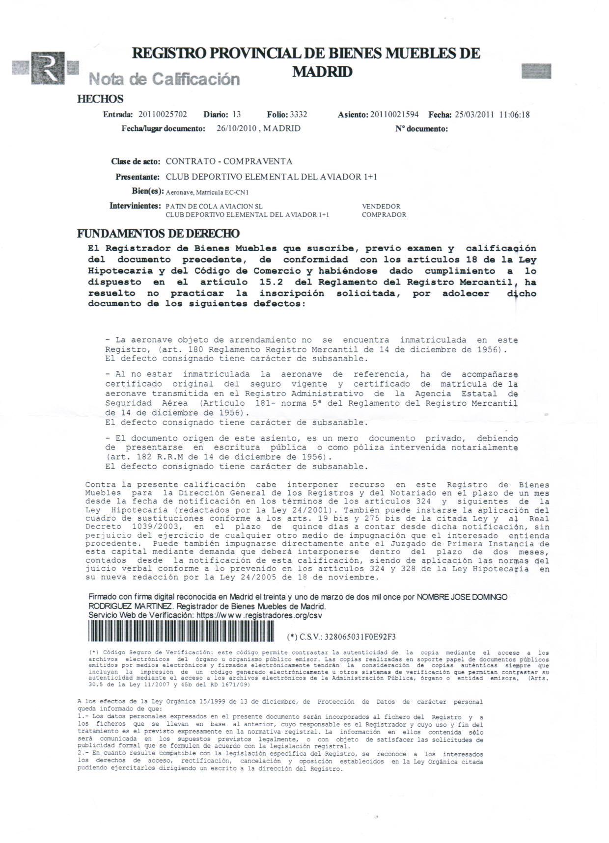 Volar en avioneta aer dromo de camarenilla casos pr cticos administrativos - Telefono registro bienes muebles madrid ...